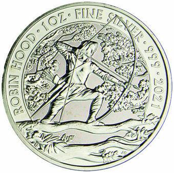 2021 Robin Hood £2 1 Oz. Silver BU _obv
