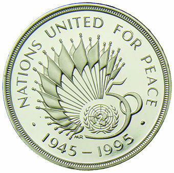 1995 £2 United Nations Silver Proof_obv