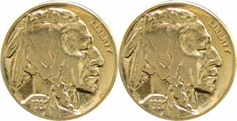 Indian Head 5 Cents Cufflinks Gold Plated
