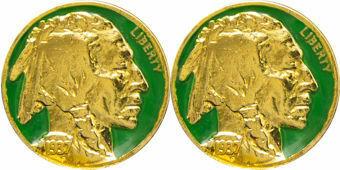 Indian Head 5 Cents Cufflinks Green
