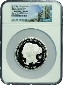 2019 £10 '200th Birth of Queen Victoria Anniversary' (Slabbed)  5 Ounce PF69_obv