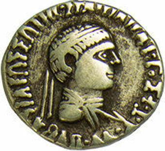 Silver Drachm of Apollodotus II About Very Fine_obv