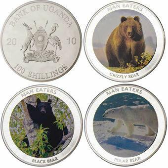 Set of 3 Uganda Crowns with Bears_obv