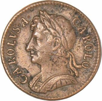 Charles II, Farthing 1672 EF/GVF_obv