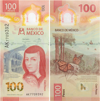 Mexico 100 Pesos 2020 P-New Polymer IBNS Banknote Year Unc