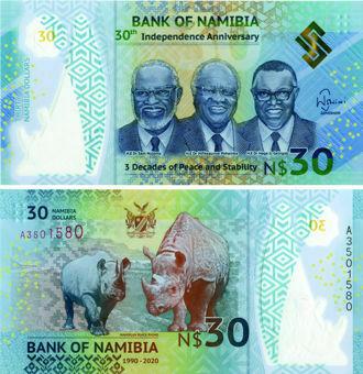 Namibia 30 Dollars 2020 30th Ann Polymer Unc